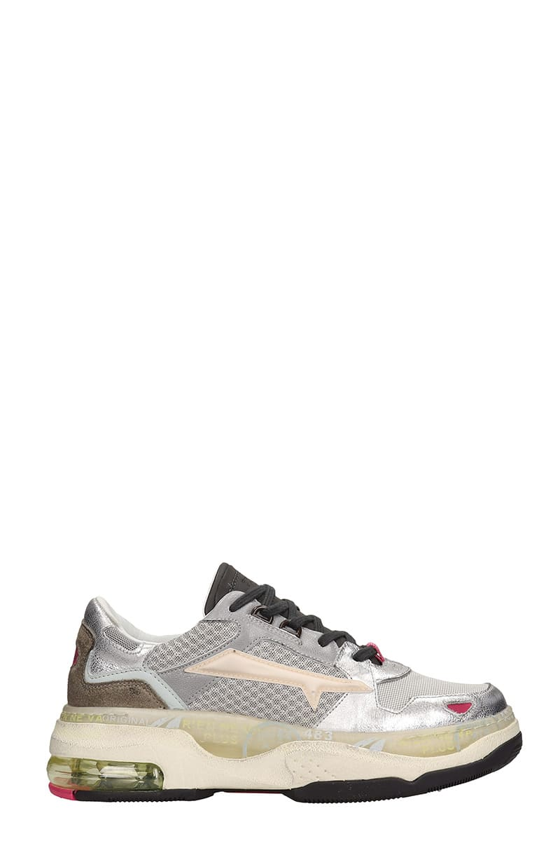 Premiata Draked Sneakers In Silver Leather