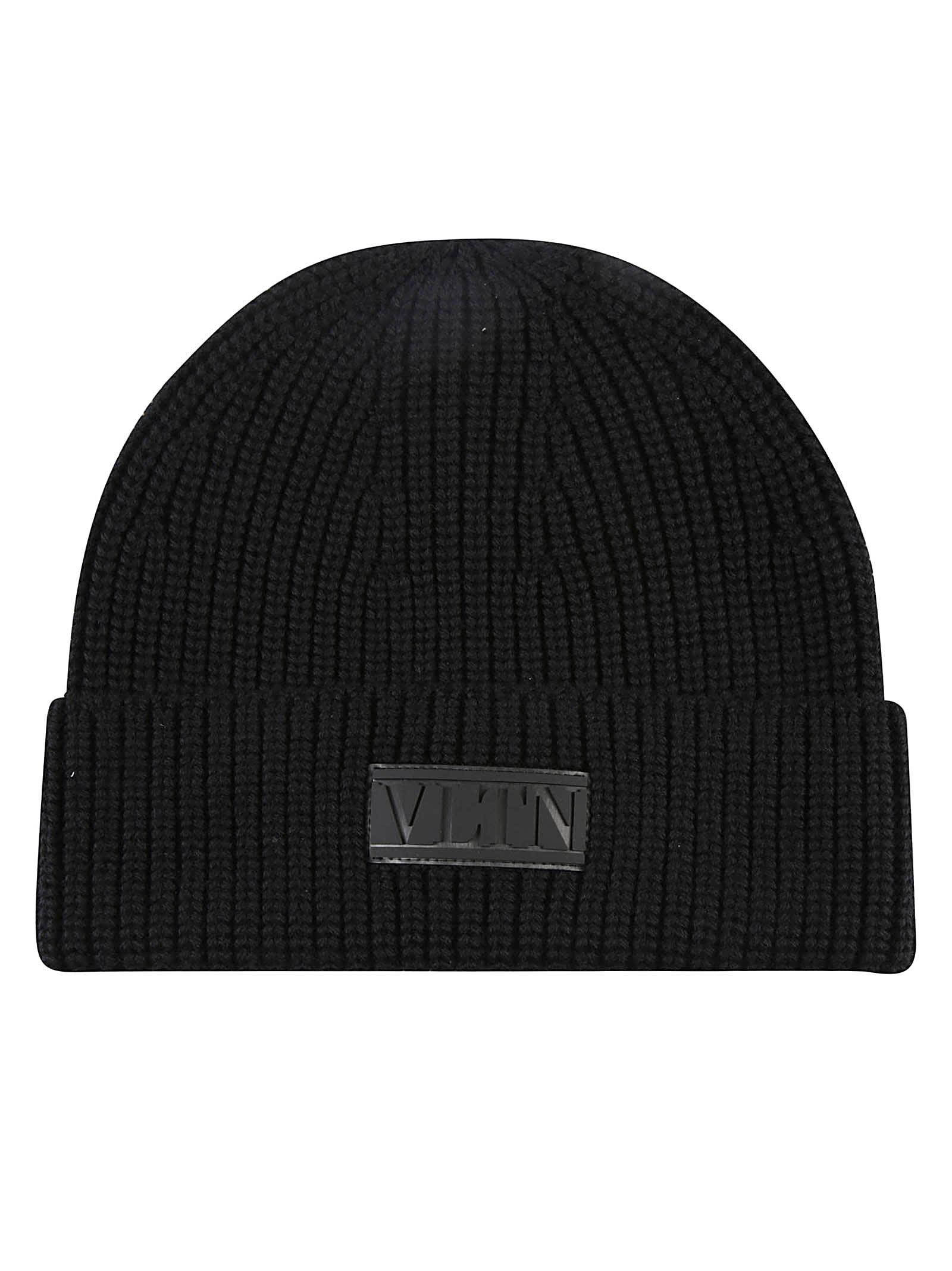 Valentino Garavani Vltn Logo Patched Knit Beanie In Nero/nero
