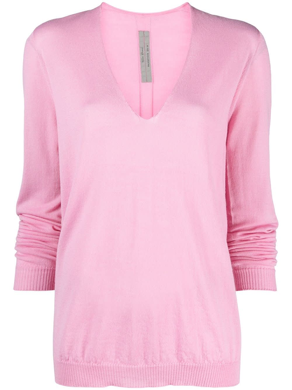 Rick Owens Tops PINK V-NECK WOOL SWEATER