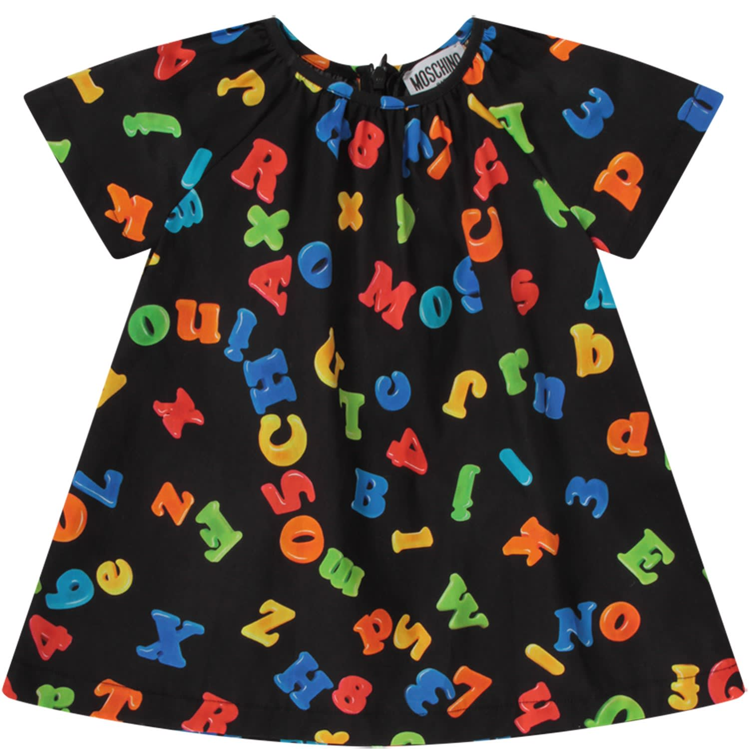 Buy Moschino Black Babygirl Dress With Colorful Letters And Numbers online, shop Moschino with free shipping
