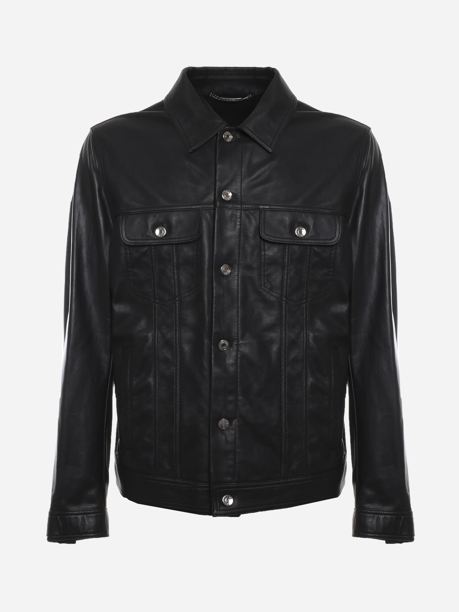 Dolce & Gabbana Leathers BLACK JACKET MADE OF LEATHER