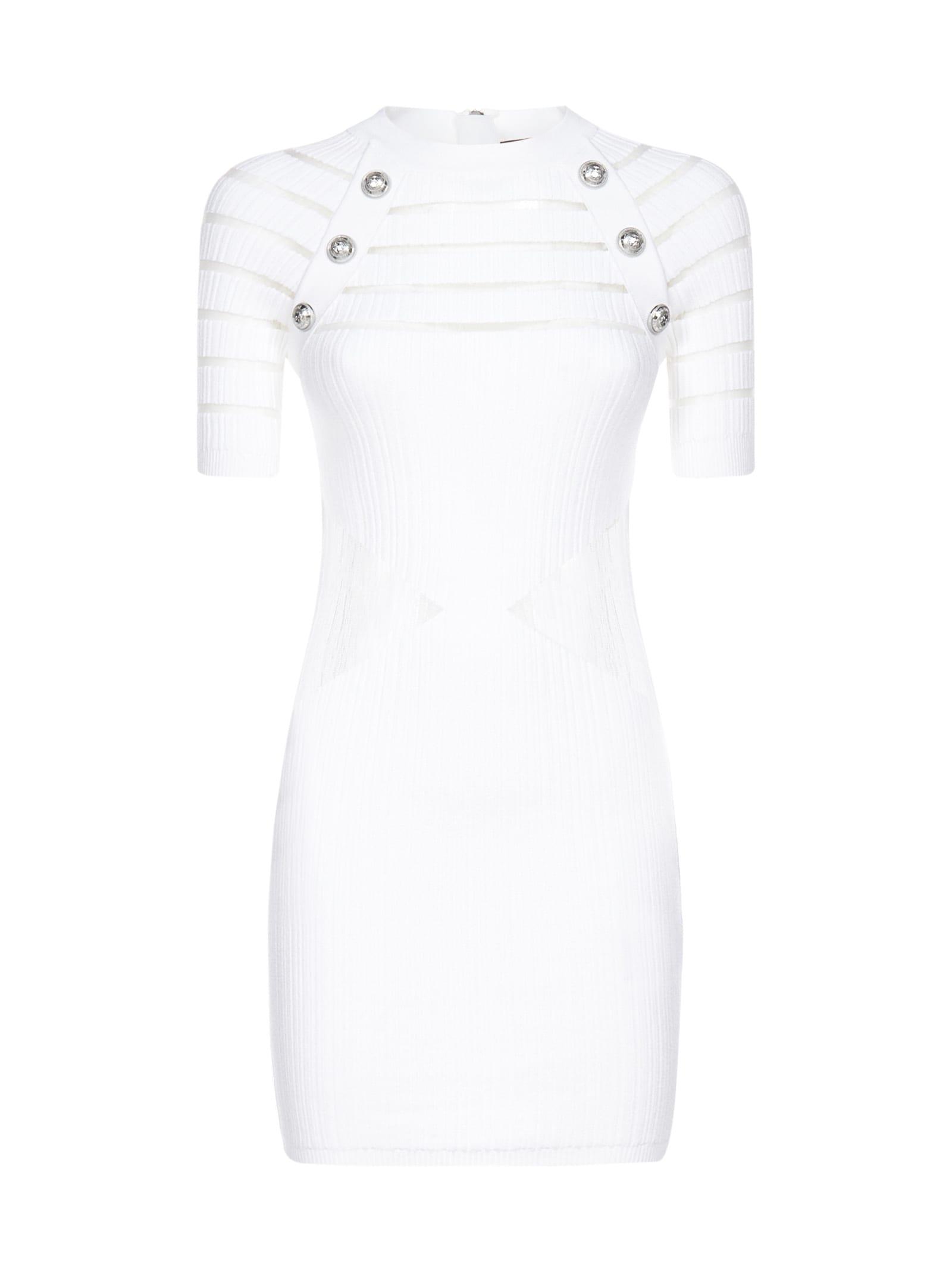 Buy Balmain Short Ss Transparent Dress online, shop Balmain with free shipping