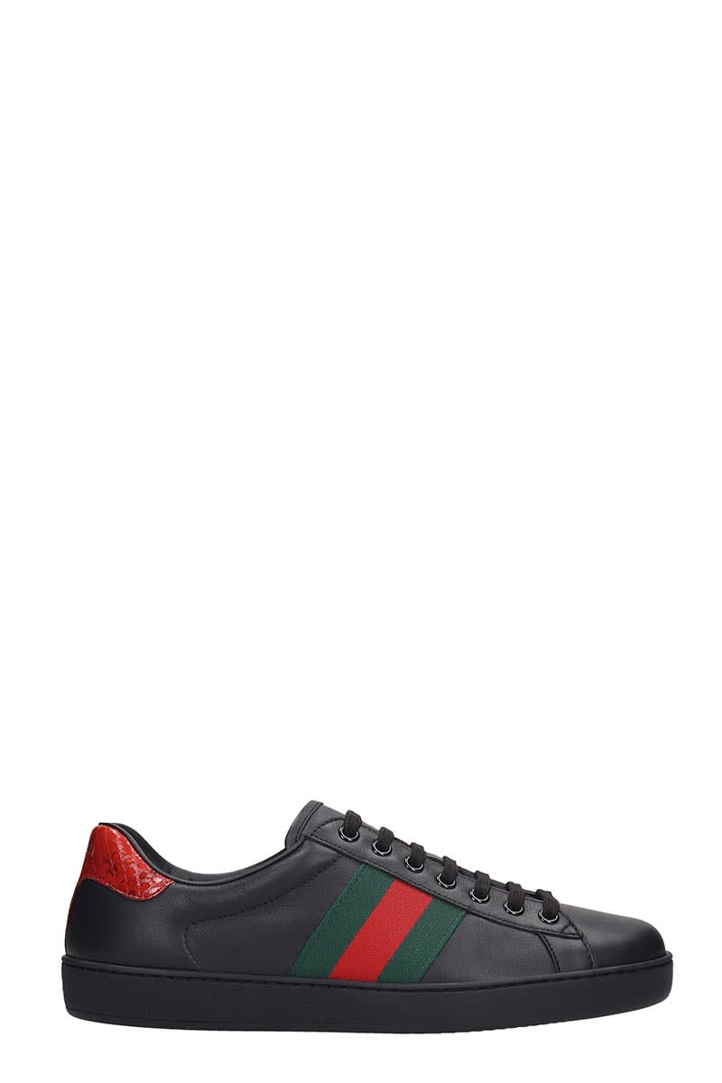 Gucci Ace Sneakers In Black Leather