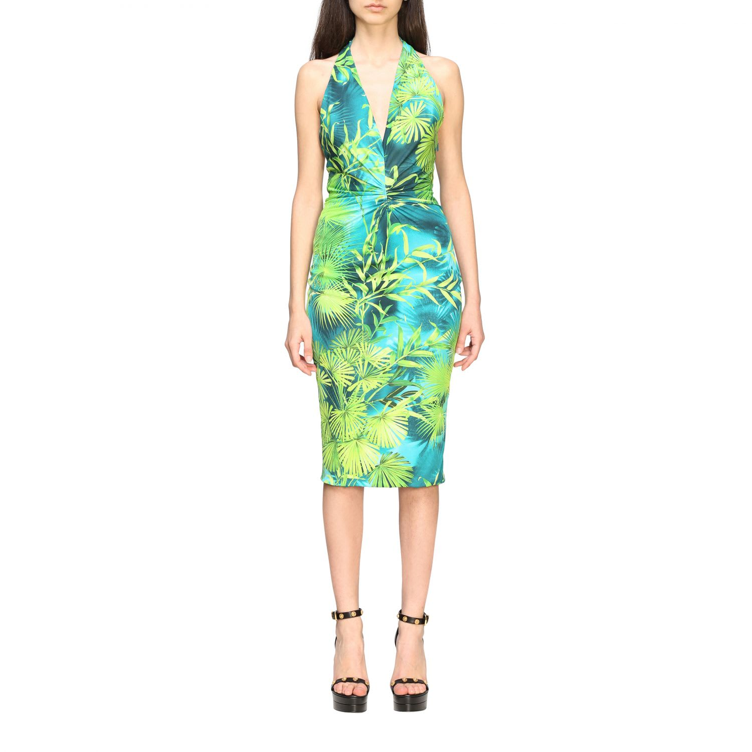 Buy Versace Dress Versace Dress With American Neckline In Jungle Print Jersey online, shop Versace with free shipping