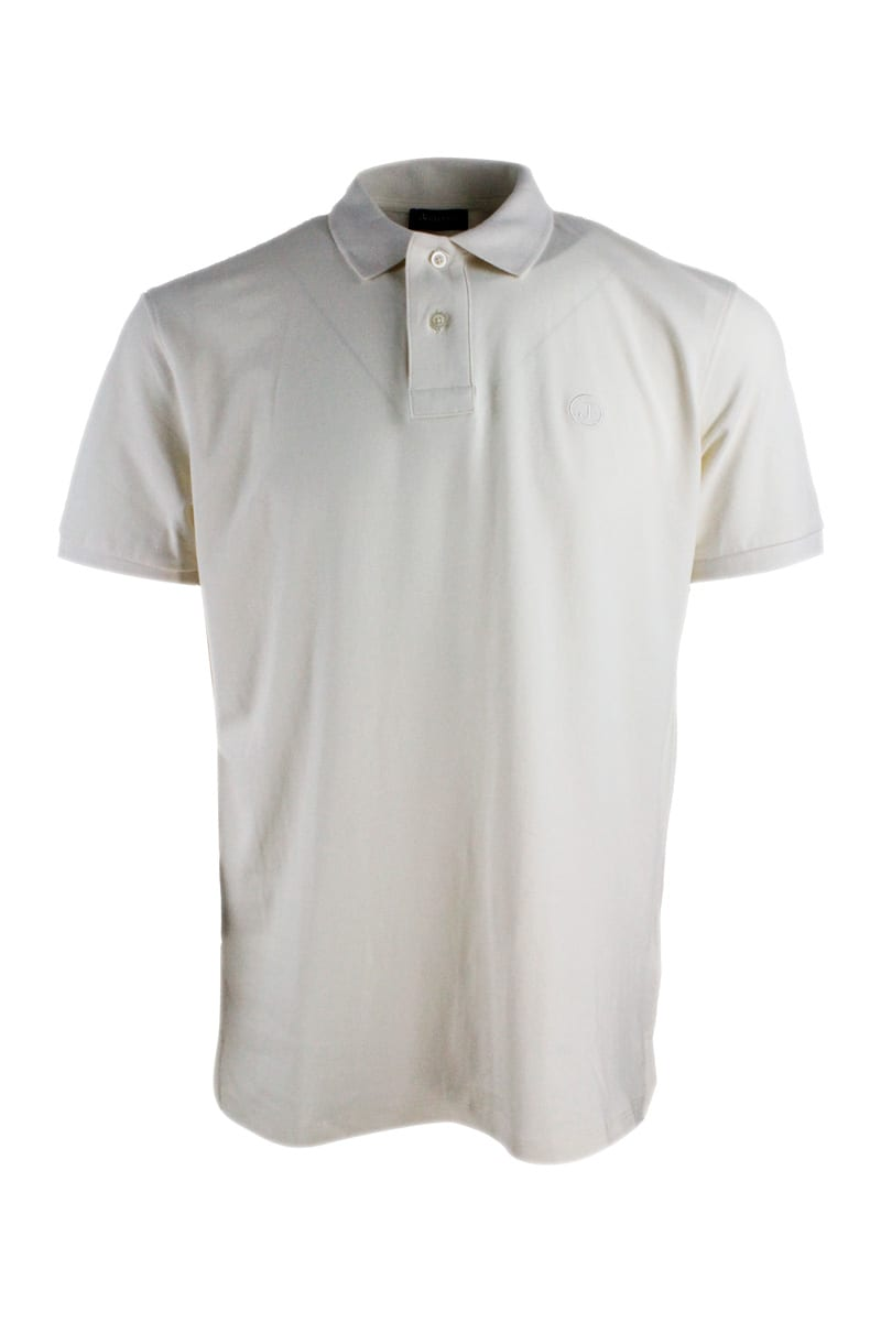 Jeckerson Polos SHORT-SLEEVED POLO SHIRT IN EXTRA-FINE STRETCH COTTON WITH TWO BUTTONS WITH SLITS AT THE BOTTOM
