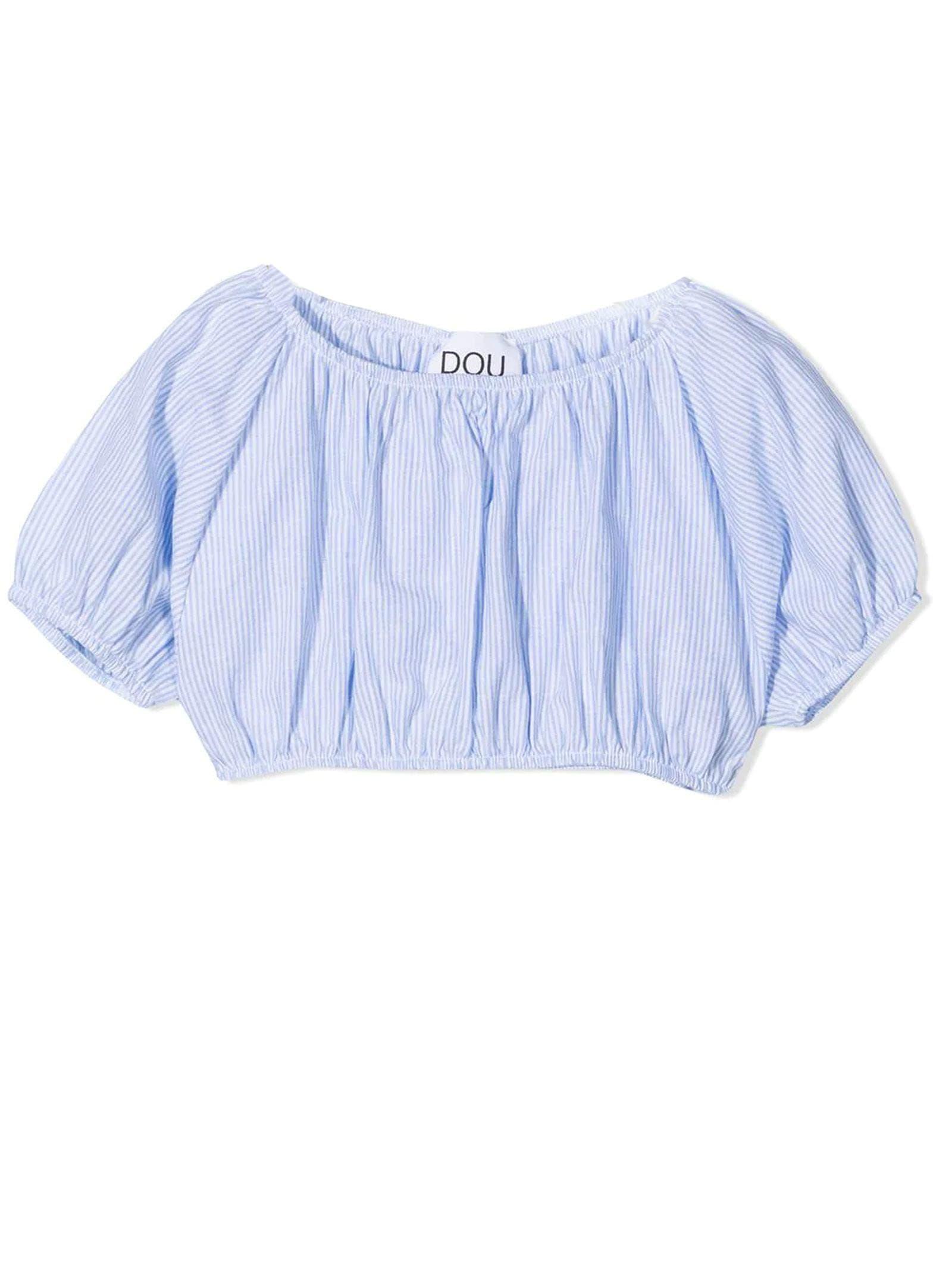 Blue Cotton And Linen Blend Top