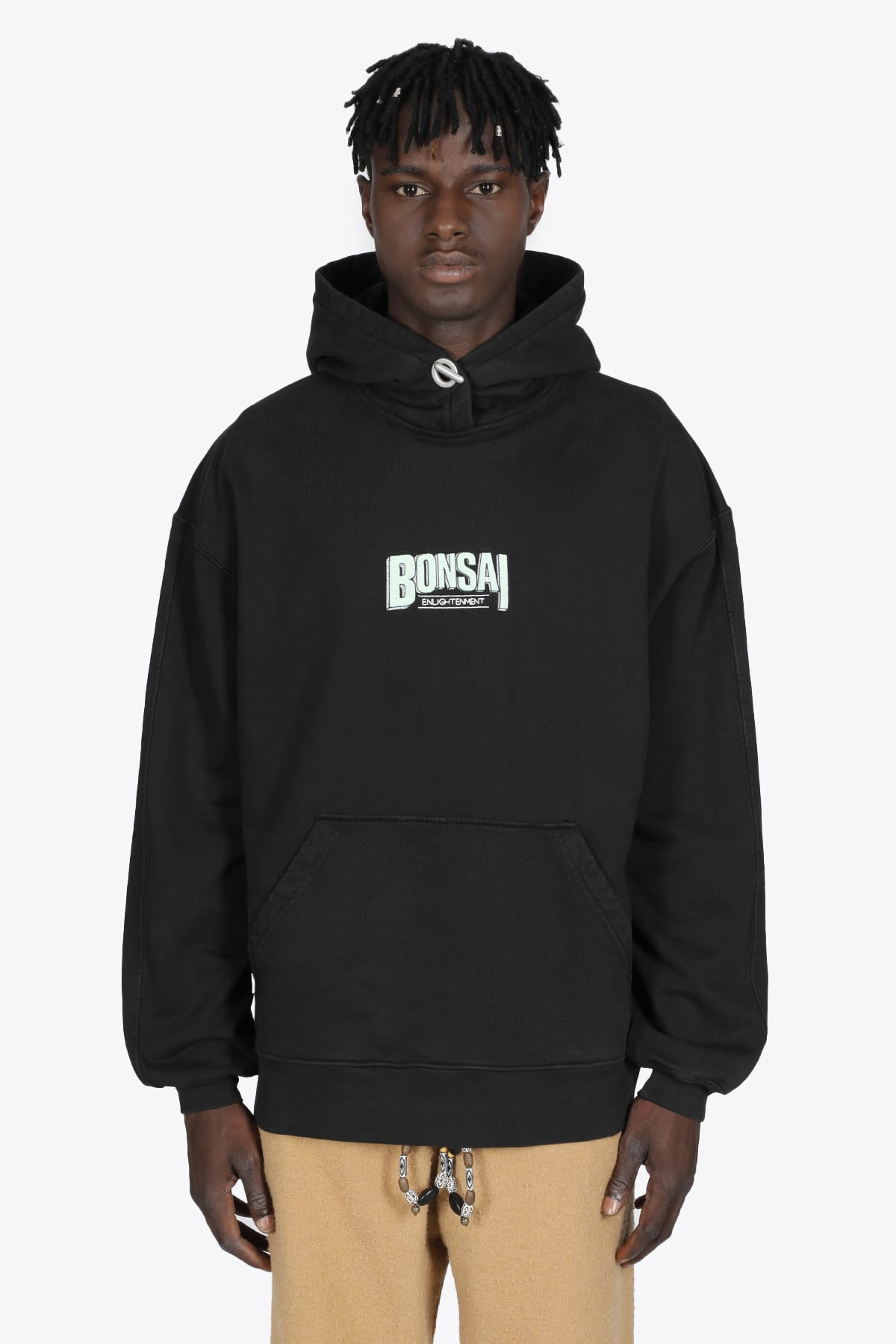 Black Cotton Hoodie With Logo Emrboidery
