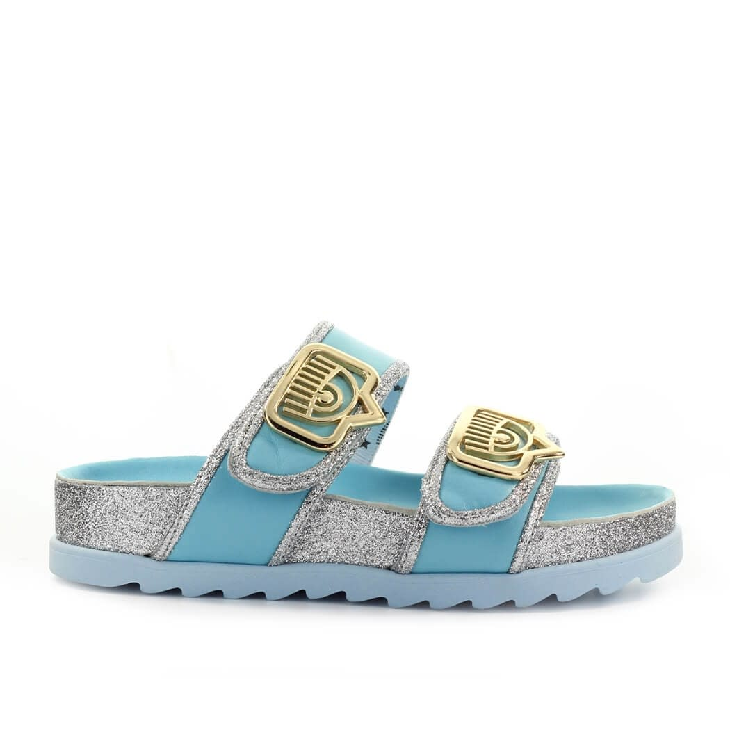Chiara Ferragni EYELIKE LIGHT BLUE GLITTER SLIDE