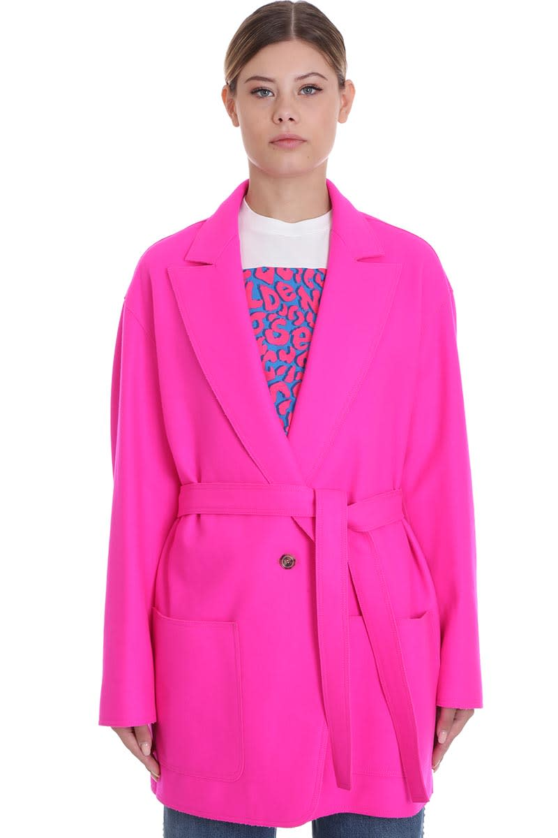Golden Goose Shion Coat In Fuxia Wool