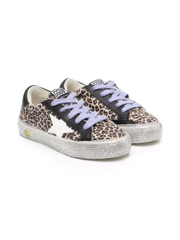 Golden Goose Kids Leopard May Sneakers With Lilac Laces And Silver Glittered Sole