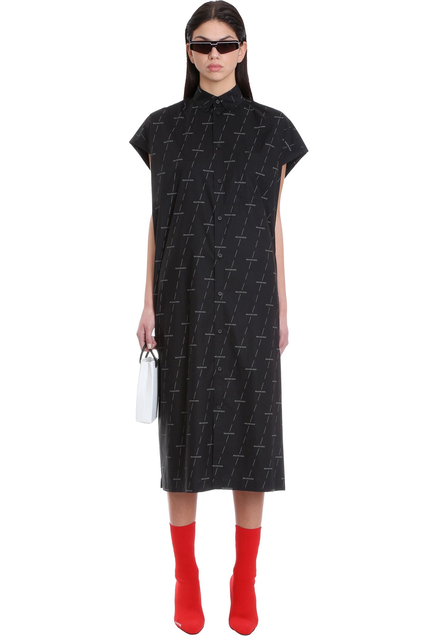 Balenciaga Dress In Black Cotton