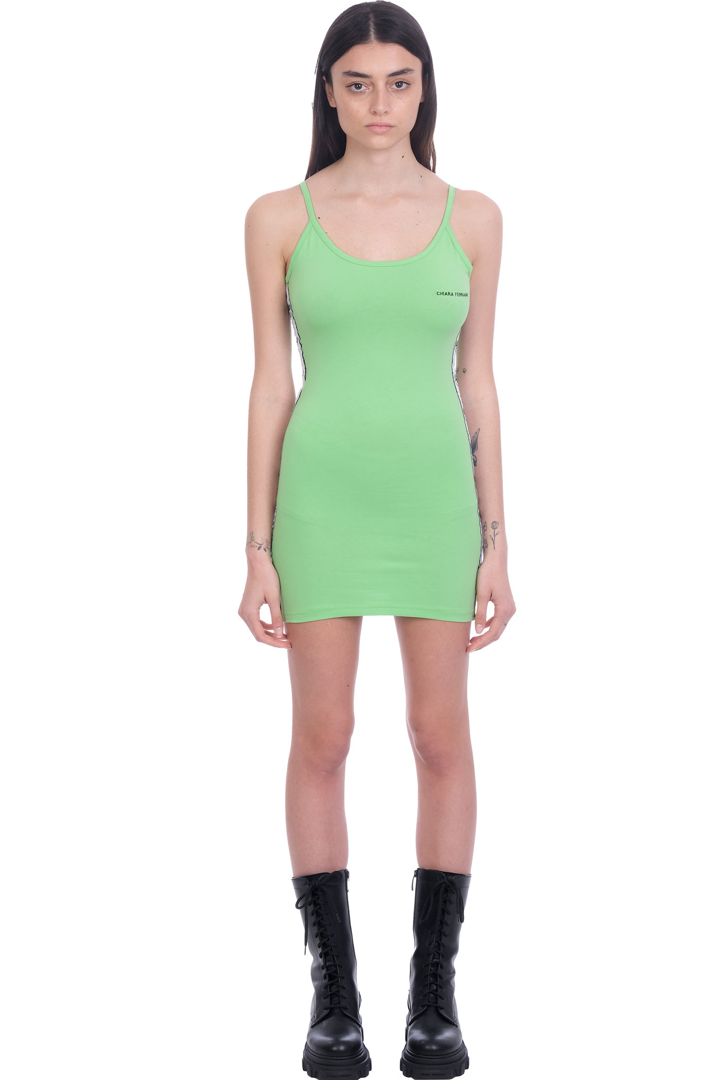 Buy Chiara Ferragni Dress In Green Cotton online, shop Chiara Ferragni with free shipping