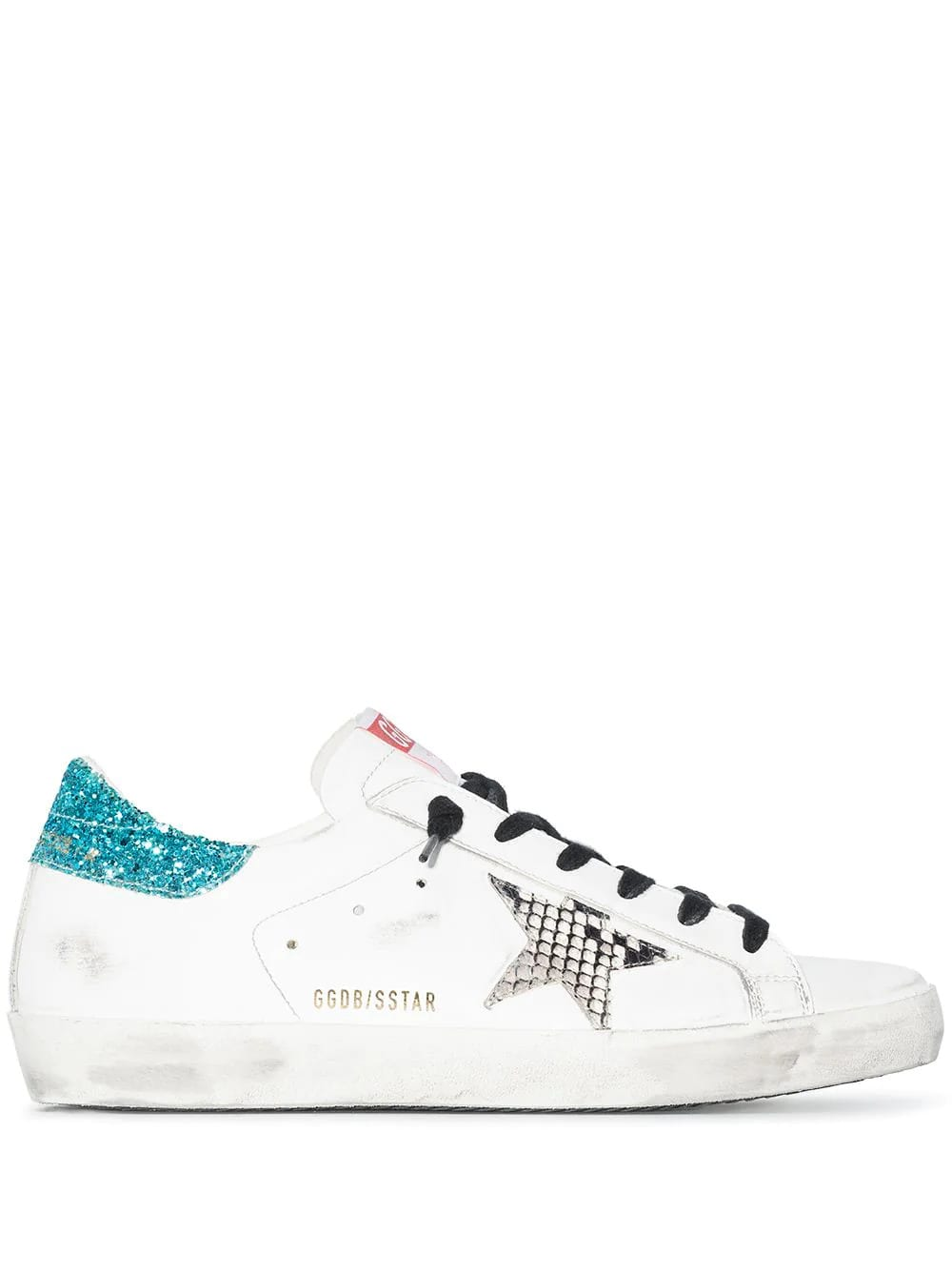 Golden Goose Woman White Super-star Sneakers With Black Laces, Python Printed Star And Aquamarine Glittered Spoiler