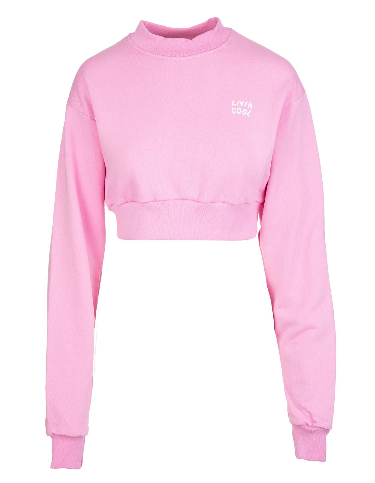 Wiman Pink Crop Sweatshirt With Micro Logo