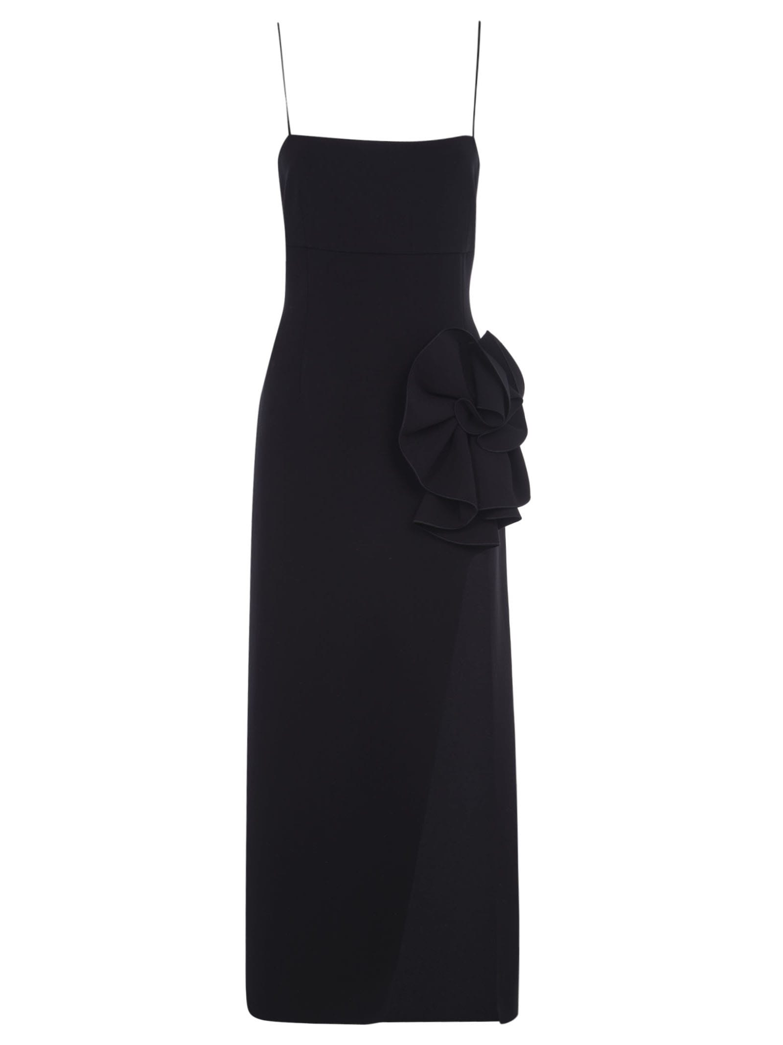 Magda Butrym SIDE SLIT FLORAL APPLIQUE LONG DRESS