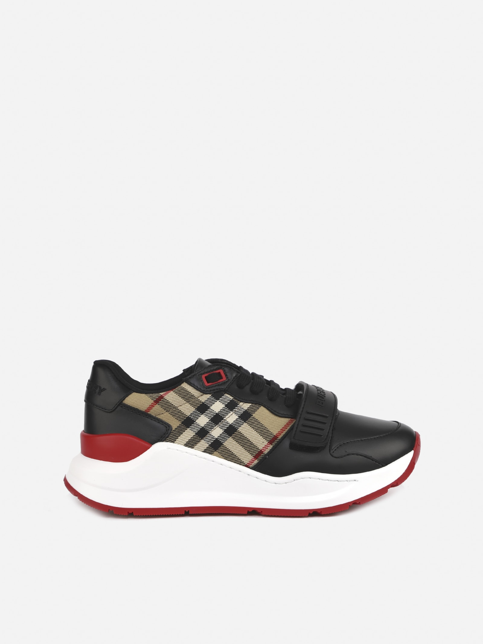 Burberry Sneakers With Leather Inserts And Vintage Check Motif