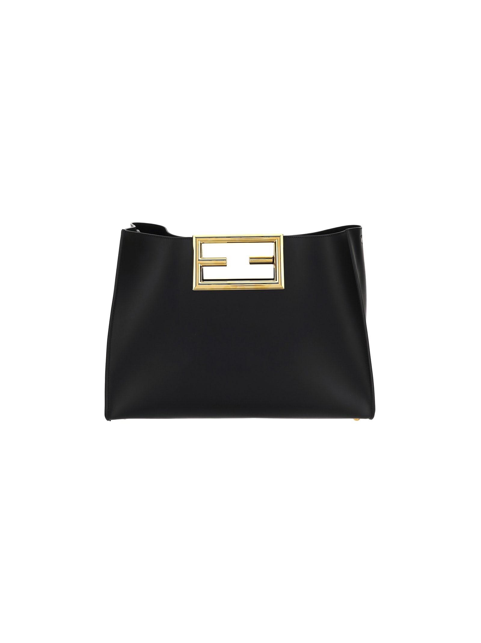 Fendi Shoulder Bag In Nero+oro Soft