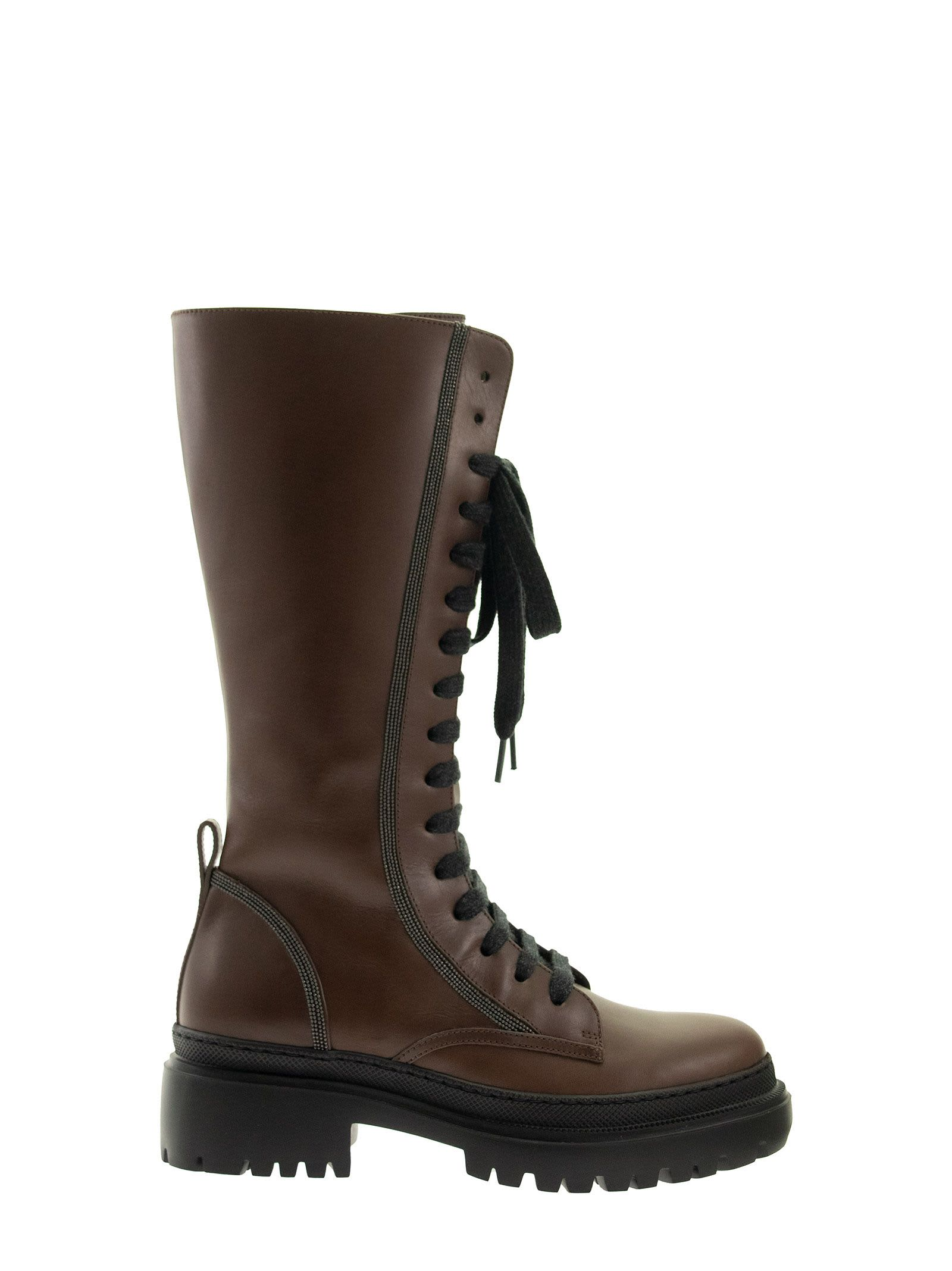 Brunello Cucinelli RIDING CALFSKIN LACE-UP BOOTS WITH PRECIOUS CONTOUR