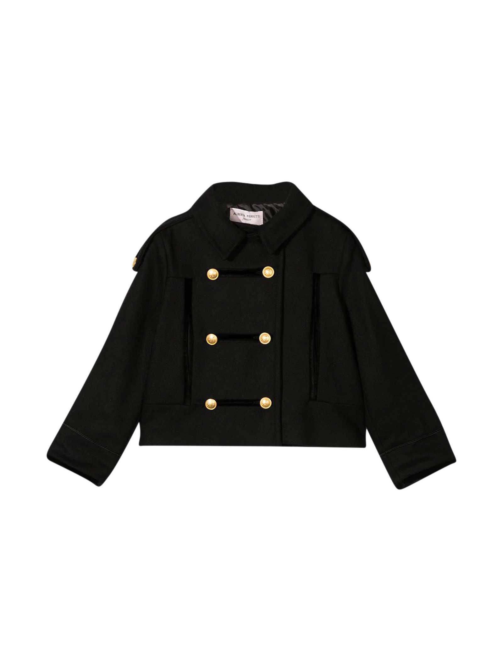 Alberta Ferretti Black Military Coat