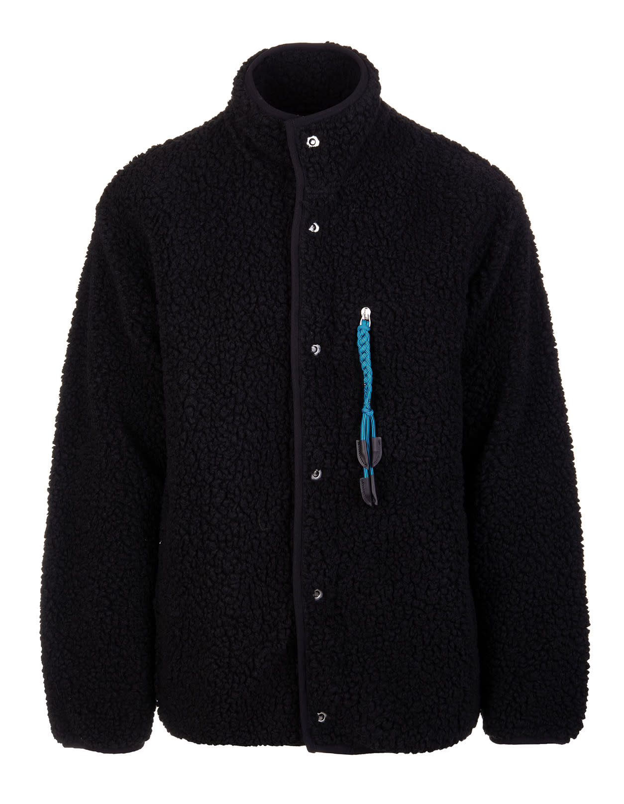 Palm Angels Man Black Teddy Jacket With Contrast Detail