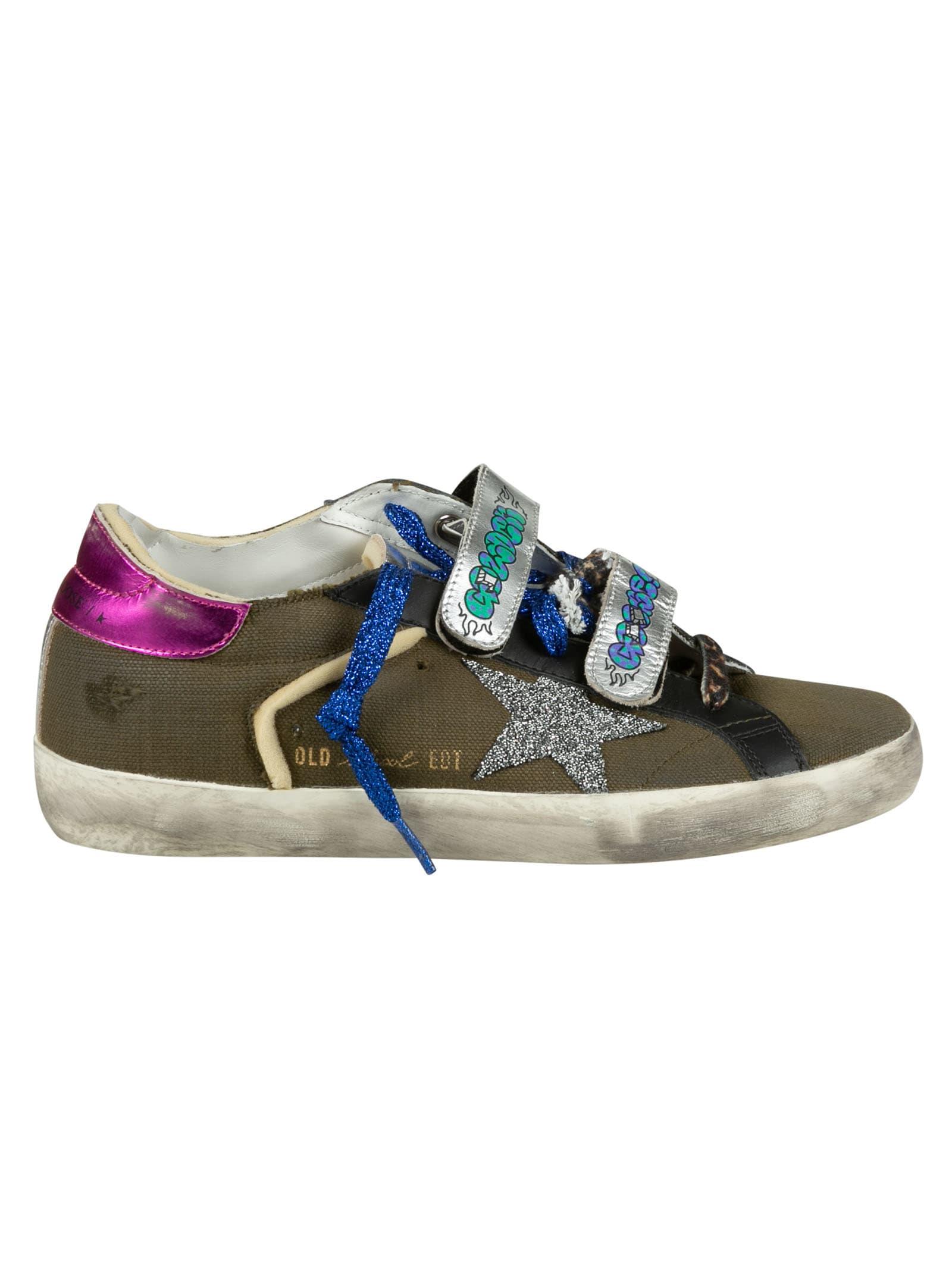 Golden Goose Canvas Upper Crystal Star Sneakers