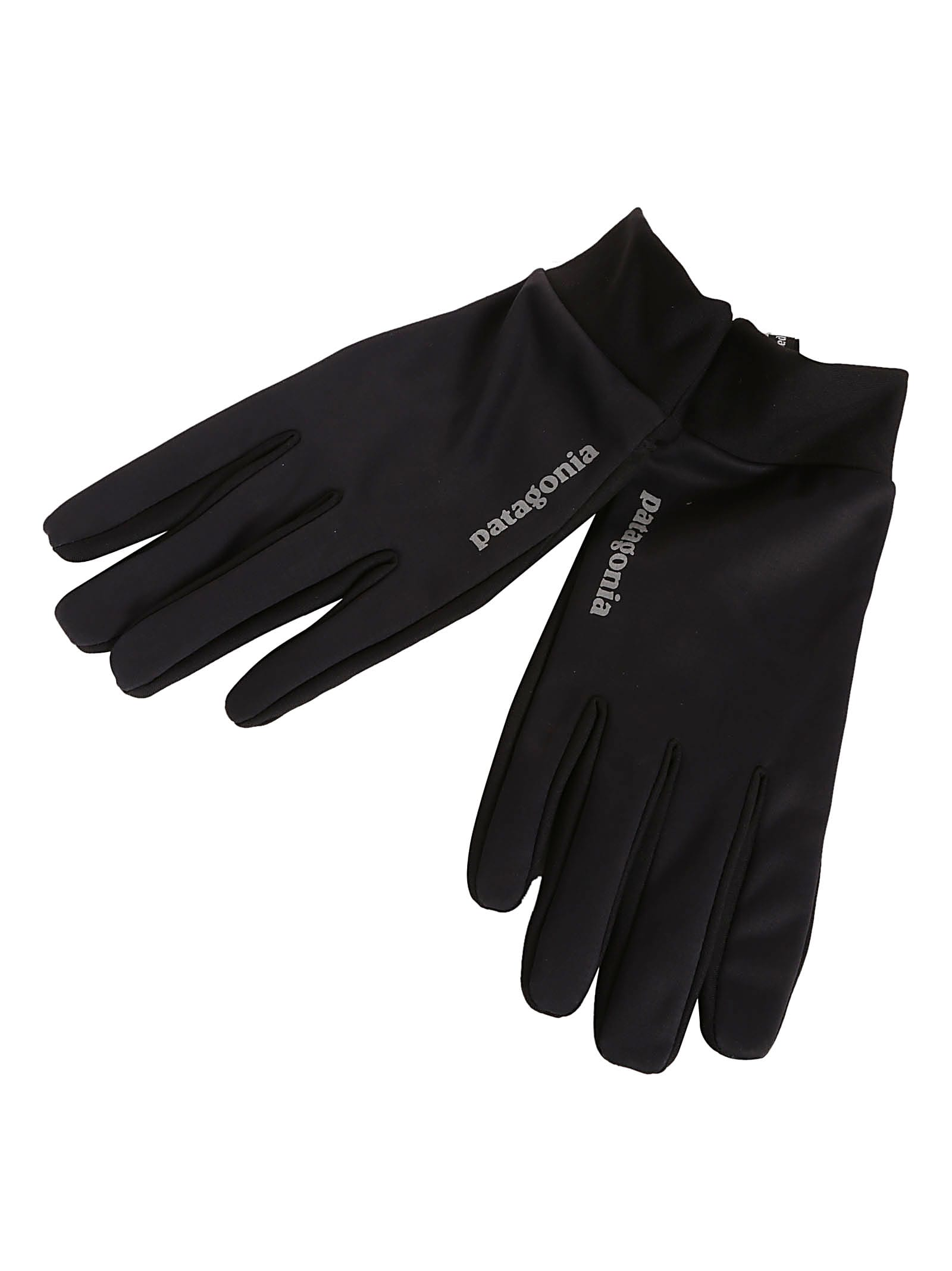 Paneled Logo Gloves from Patagonia: Black Paneled Logo Gloves with ribbed wrist, pull-tab, five finger design and printed logo.