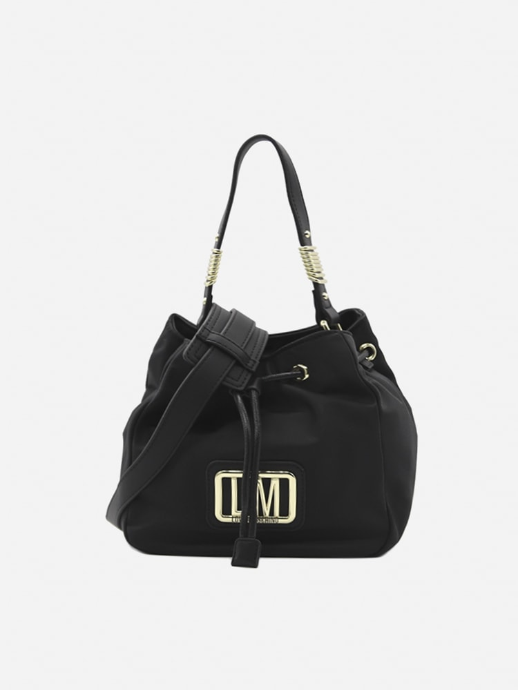 Love Moschino Bucket Bag In Nylon With Logo Lettering In Black