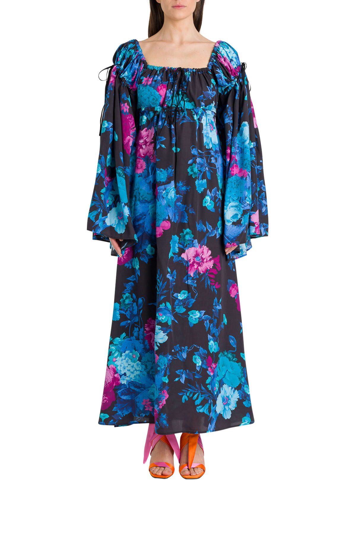 Buy The Attico Floral Dress With Wide Sleeves online, shop The Attico with free shipping