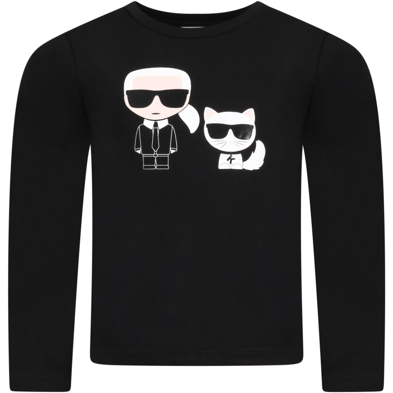Black T-shirt For Kids With Karl Lagerfeld And Choupette