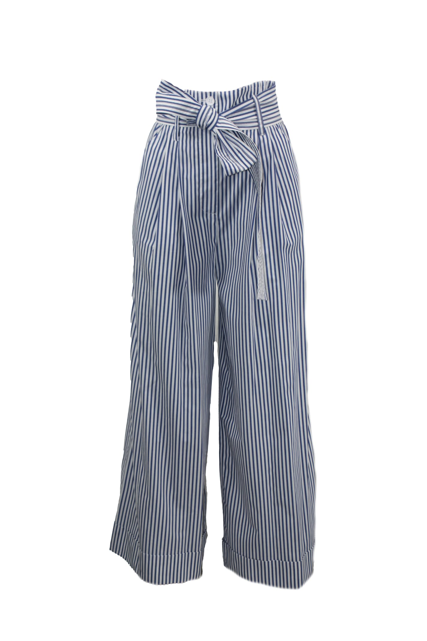 P.a.r.o.s.h. BELTED COTTON STRIPED TROUSERS