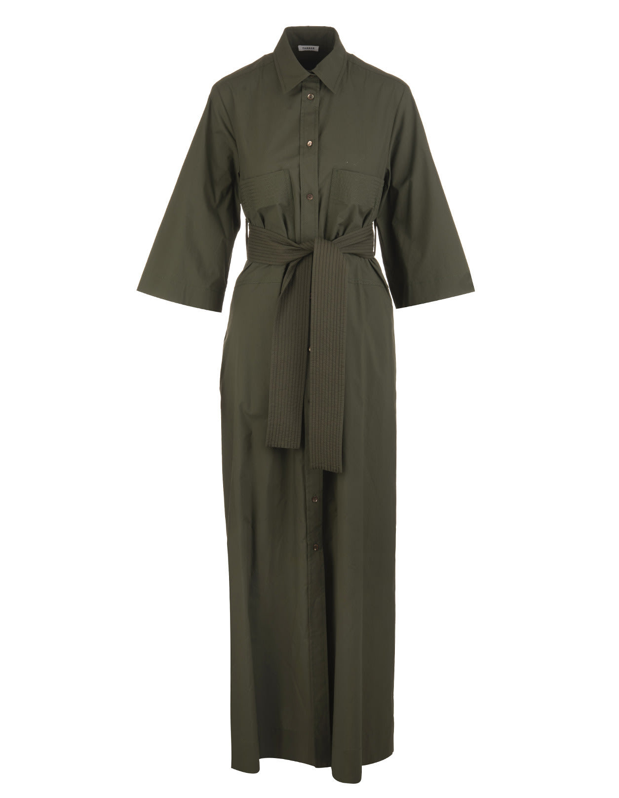A.R.O.H. long shirt dress in military green cotton with classic collar, front buttoning, 3/4 wide sleeve, belt in tone with front knot and soft skirt with pockets and front opening. Composition: 100% Cotton