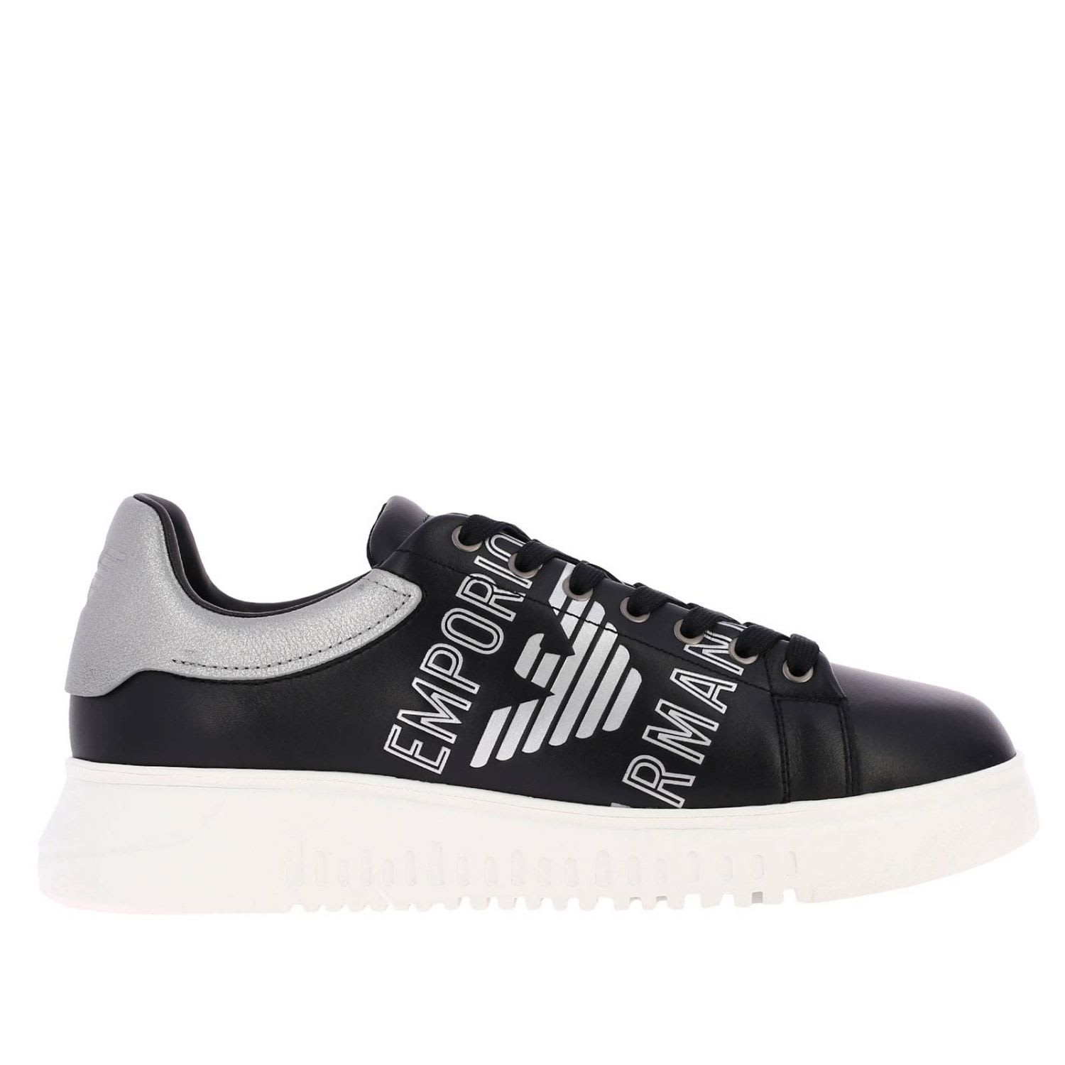 136dfb74 Emporio Armani Sneakers Lace-up Leather Sneakers With Laminated Emporio  Armani Logo