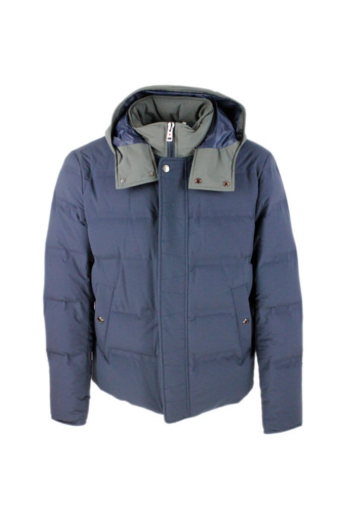 Down Jacket In Technical Fabric Padded With Real Goose Down With Detachable Hood In Contrasting Color And Closure With Zip And Buttons
