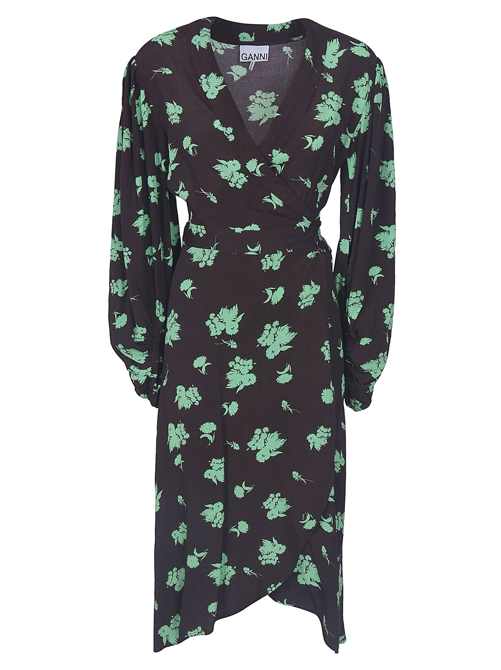 Buy Printed Crepe Wrap Dress online, shop Ganni with free shipping