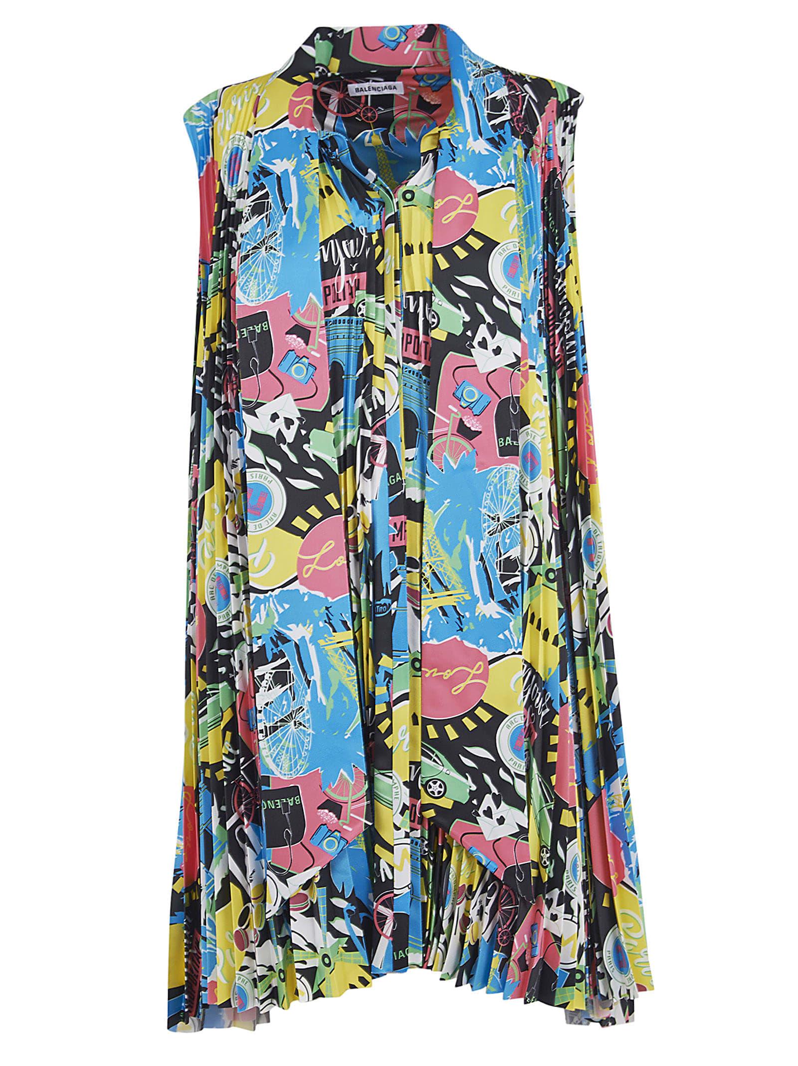 Buy Balenciaga Printed Sleeveless Dress online, shop Balenciaga with free shipping