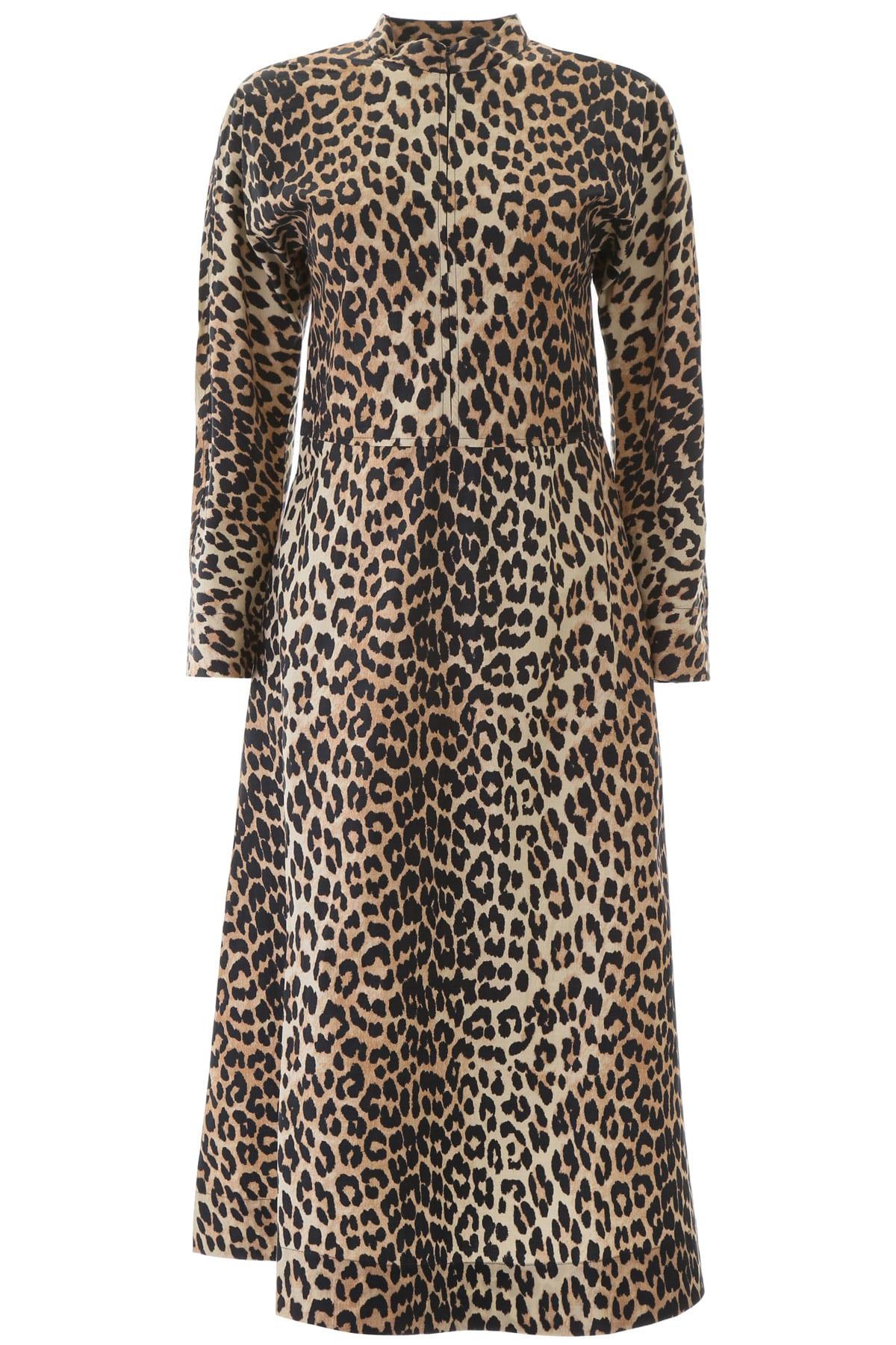 Buy Ganni Animal Print Midi Dress online, shop Ganni with free shipping