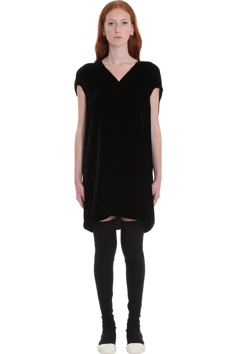 Buy Rick Owens Floating Tunic Dress In Black Velvet online, shop Rick Owens with free shipping