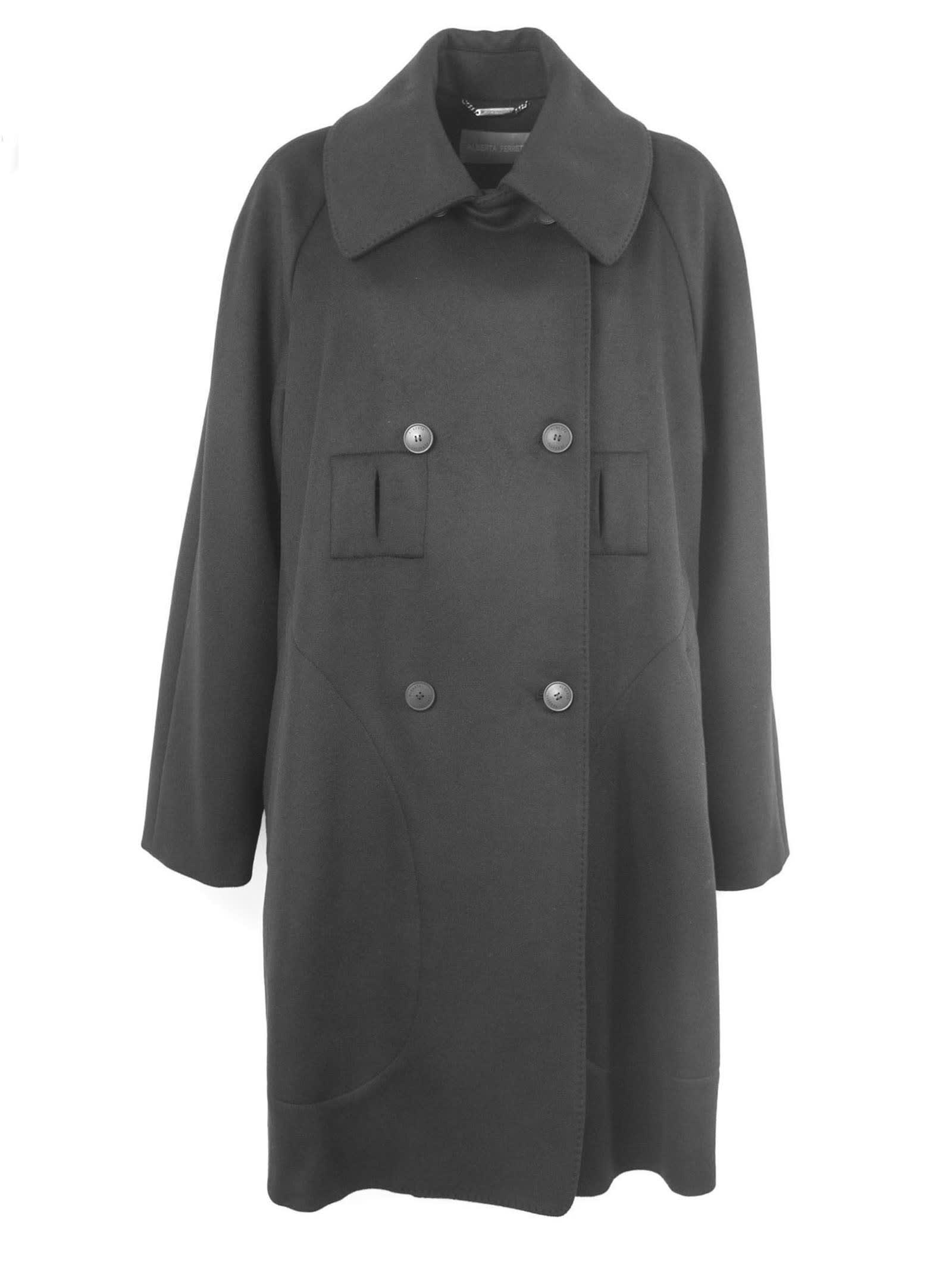 Alberta Ferretti Black Wool Blend Coat