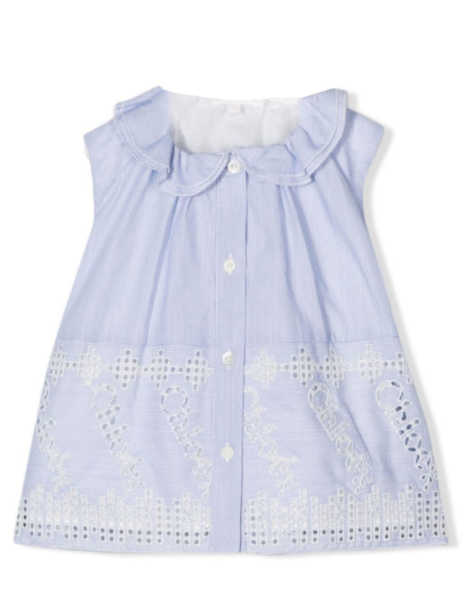 Chloé Babies' Blue Cotton Blouse In Celeste