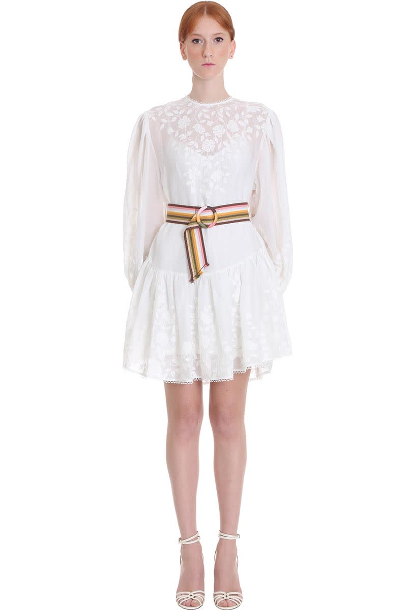 Buy Zimmermann Zinnia Dress In White Cotton online, shop Zimmermann with free shipping