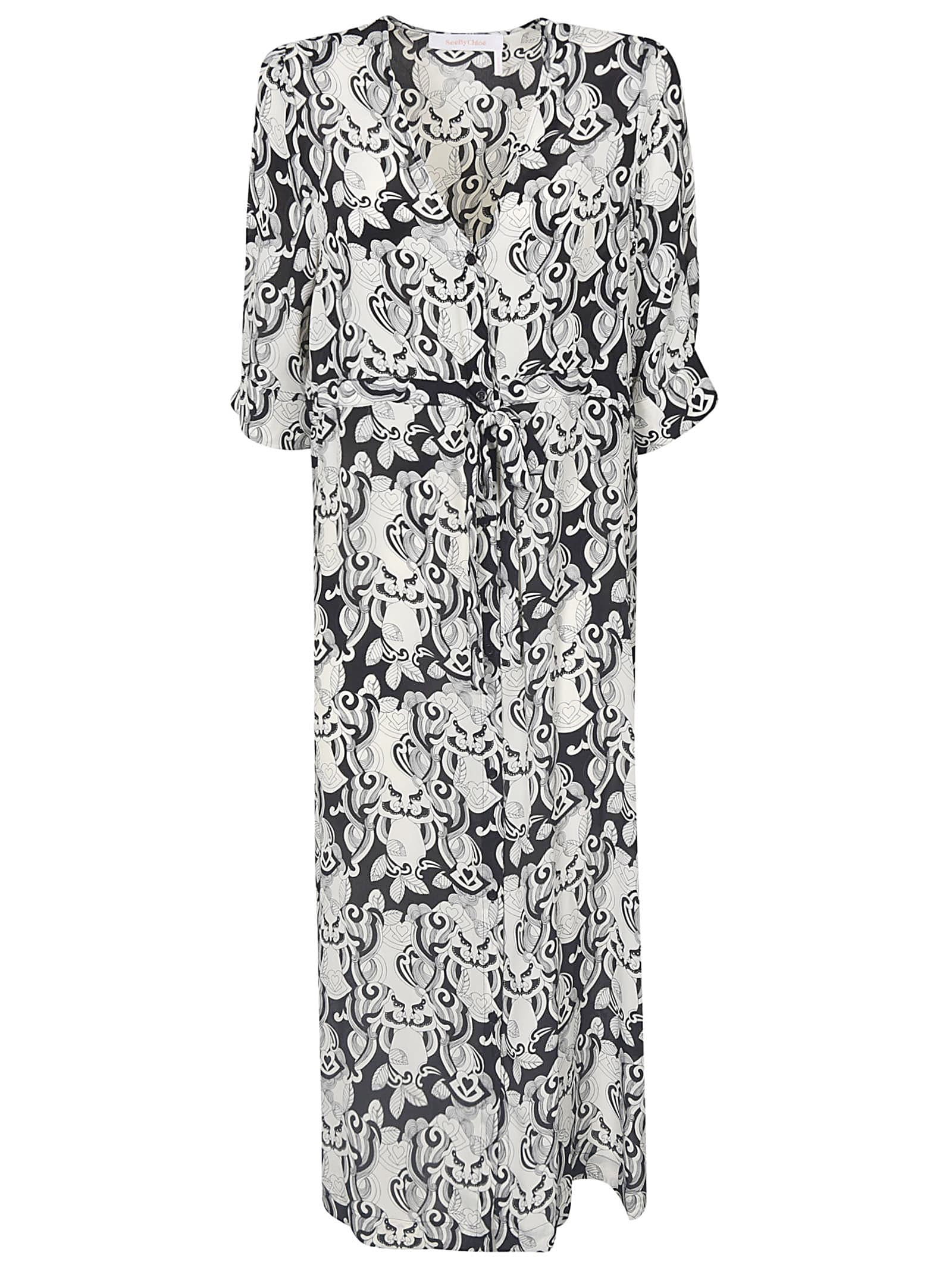 Buy See by Chloé All-over Printed V-neck Dress online, shop See by Chloé with free shipping