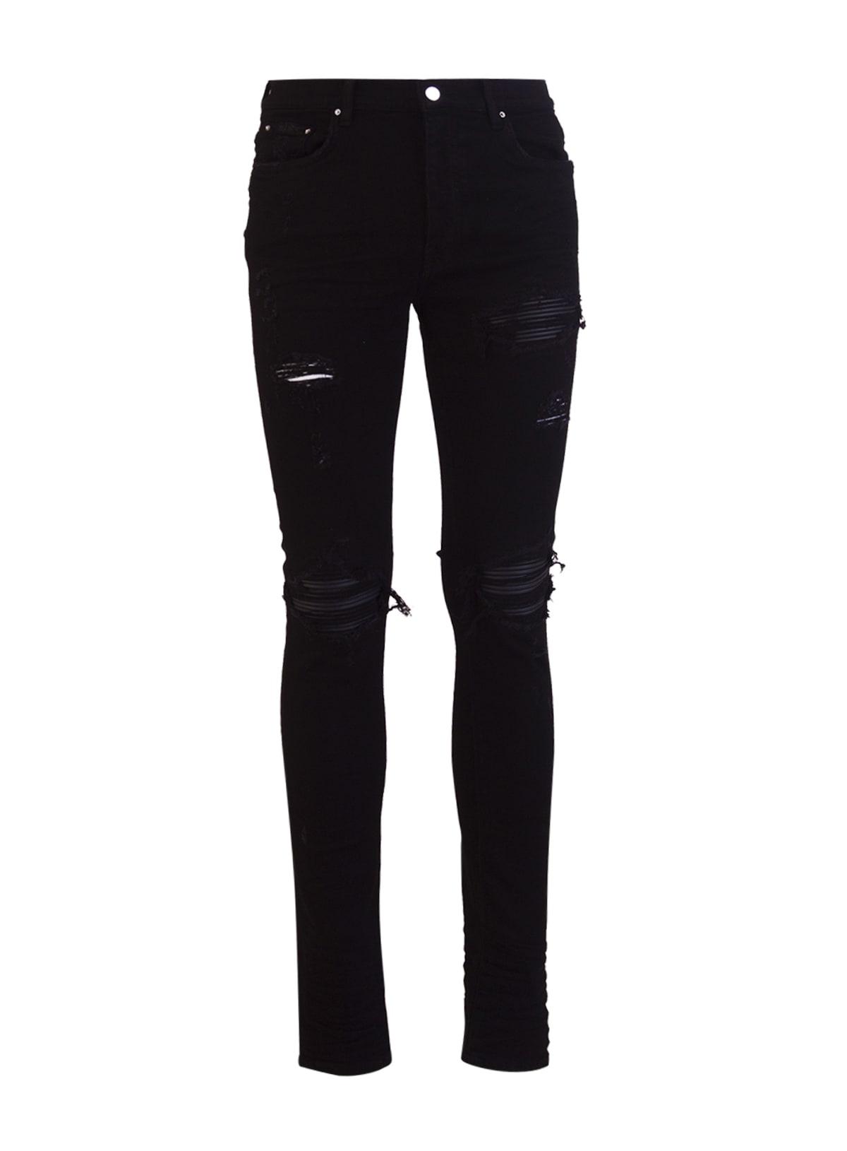 Amiri Logo Mx1 Suede Patch Skinny Jeans