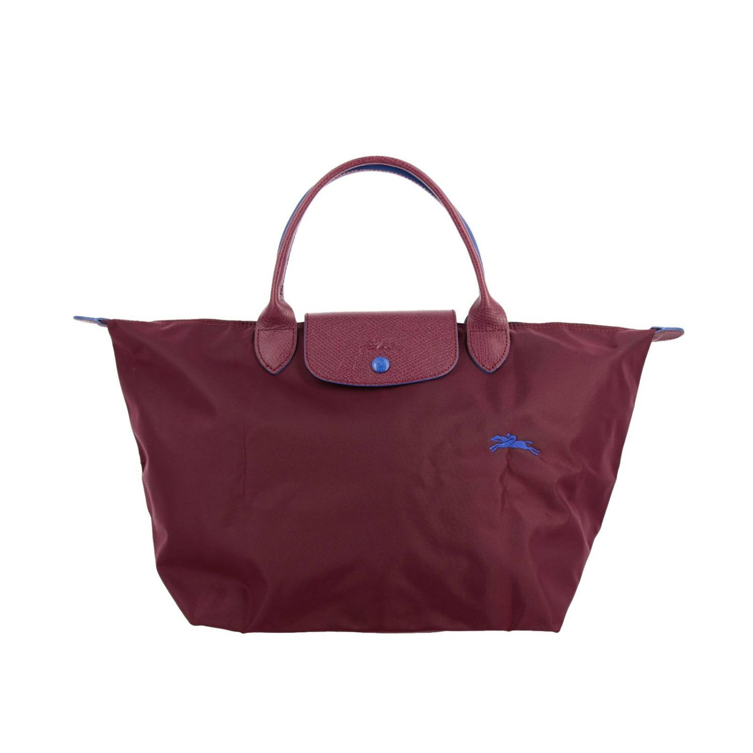 Longchamp Bag In Nylon With Embroidered Logo In Plum