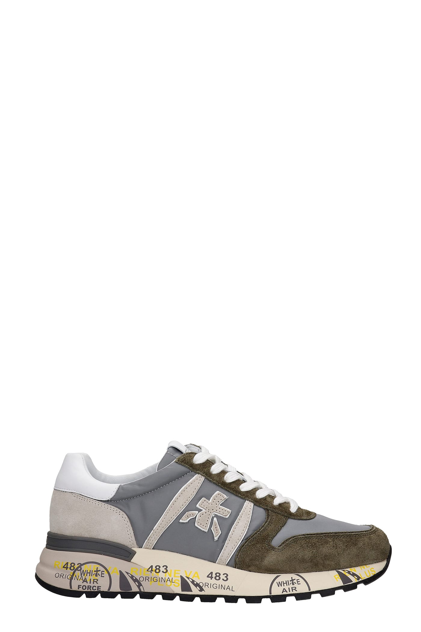 Premiata Shoes LANDER SNEAKERS IN GREY SUEDE AND FABRIC