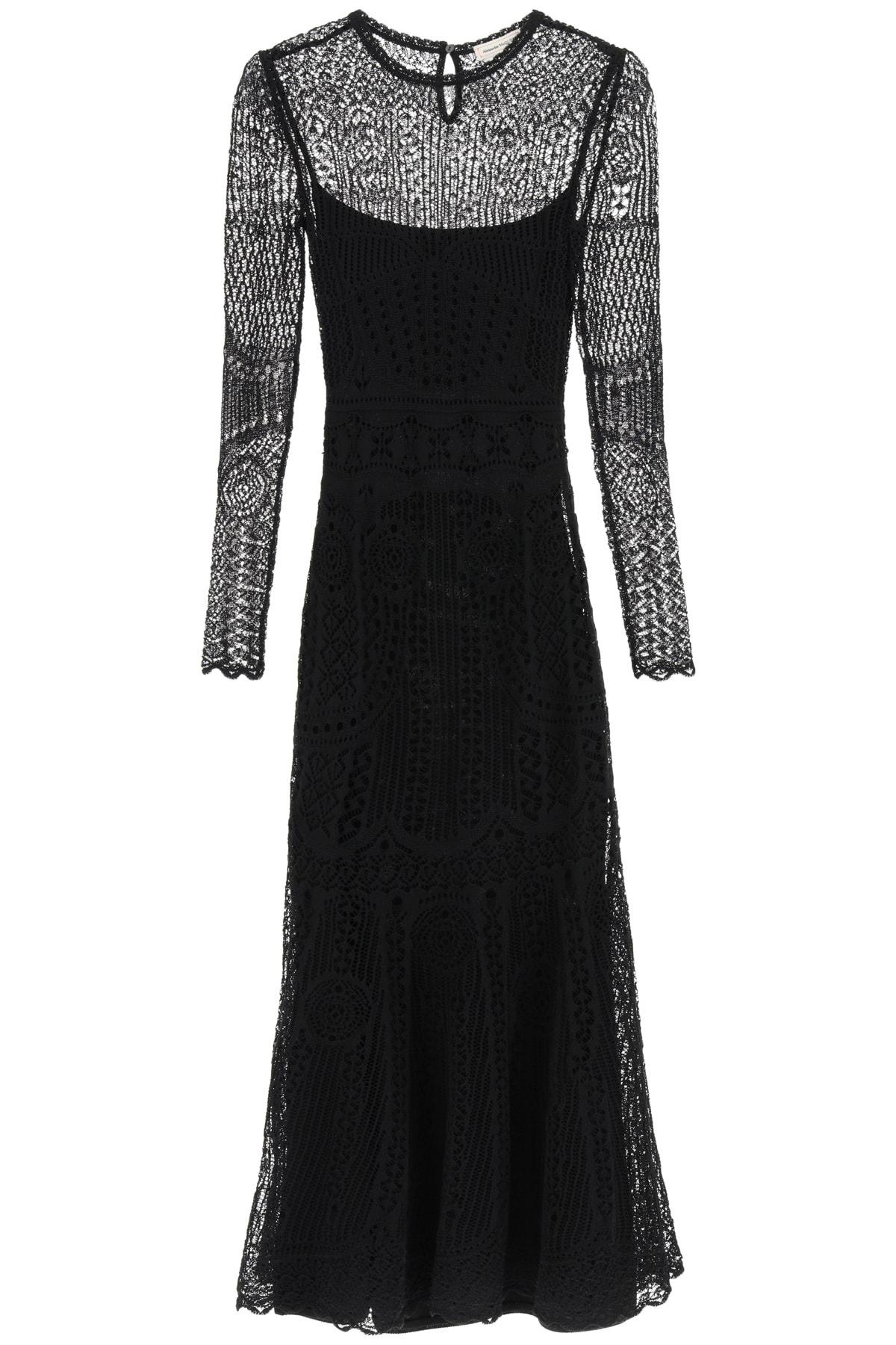 Buy Alexander McQueen Long Lace Dress online, shop Alexander McQueen with free shipping