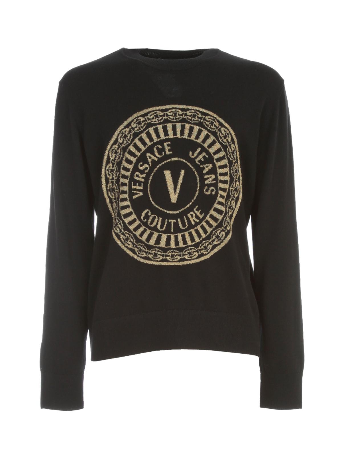 Versace Jeans Couture Round Lurex Cotton Logo Sweatshirt