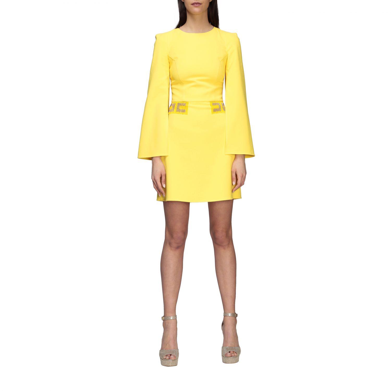 Buy Elisabetta Franchi Dress Elisabetta Franchi Cape Dress With Beaded Logo online, shop Elisabetta Franchi Celyn B. with free shipping
