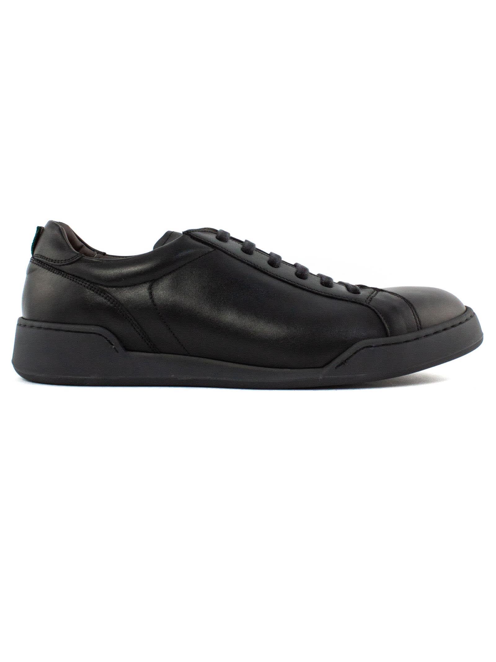 Green George Black Leather Sneakers