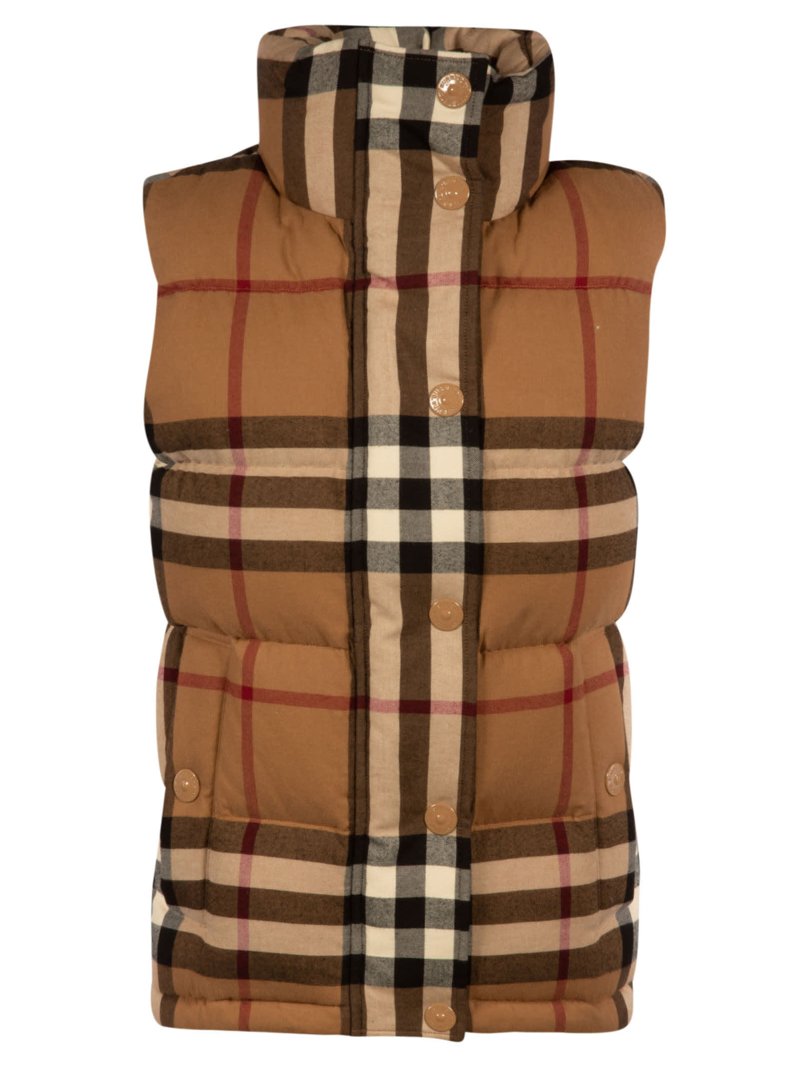 Burberry CHECKED PRINT HIGH NECK PADDED GILET