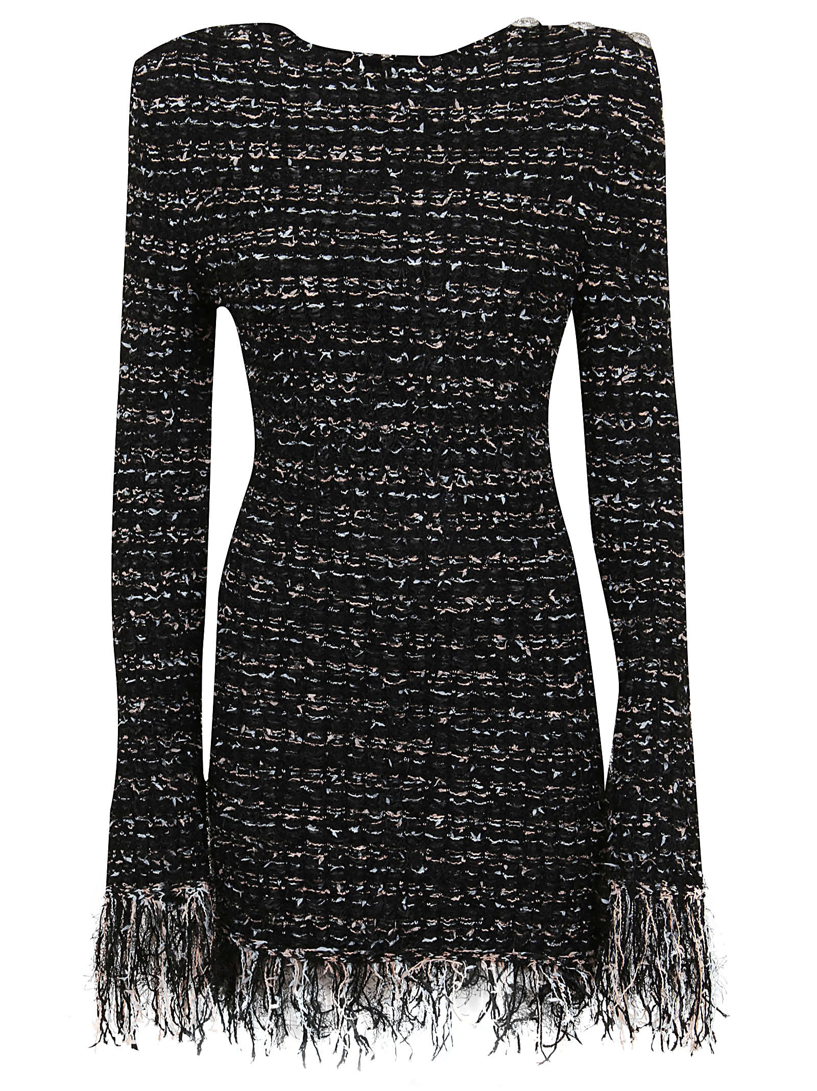 Balmain Short Ls Dark Pastel Tweed Dress